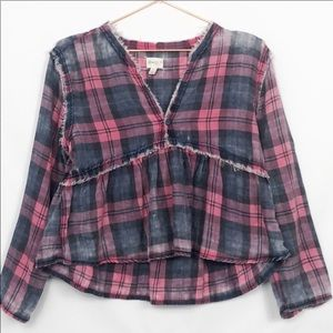 Love Fire Distressed Cropped Drop Waist Plaid Top